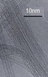 Single-wall carbon nanotubes, or SWNT, under a transmission electron microscope
